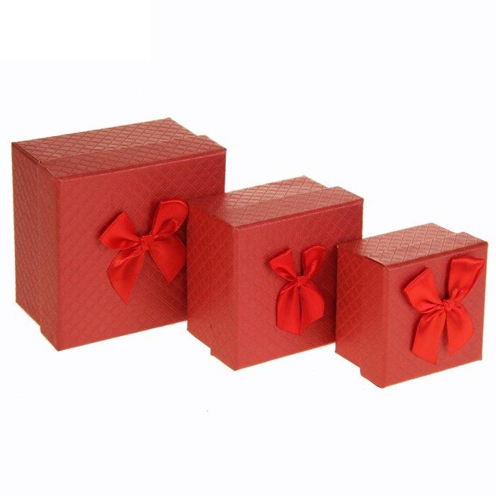 Коробка куб с бантом (белый, красный) - 3