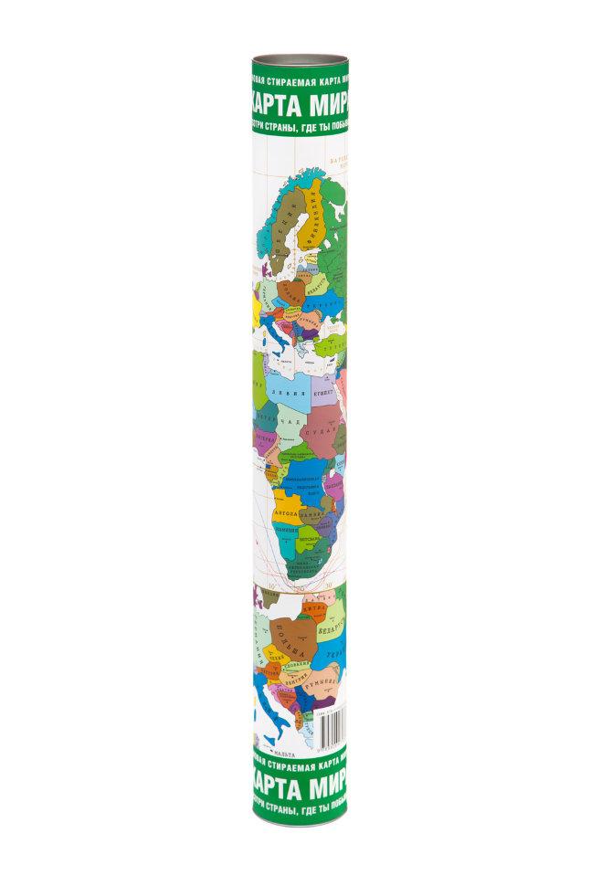 Стираемая карта мира «Премиум» (серебряный слой) - 3