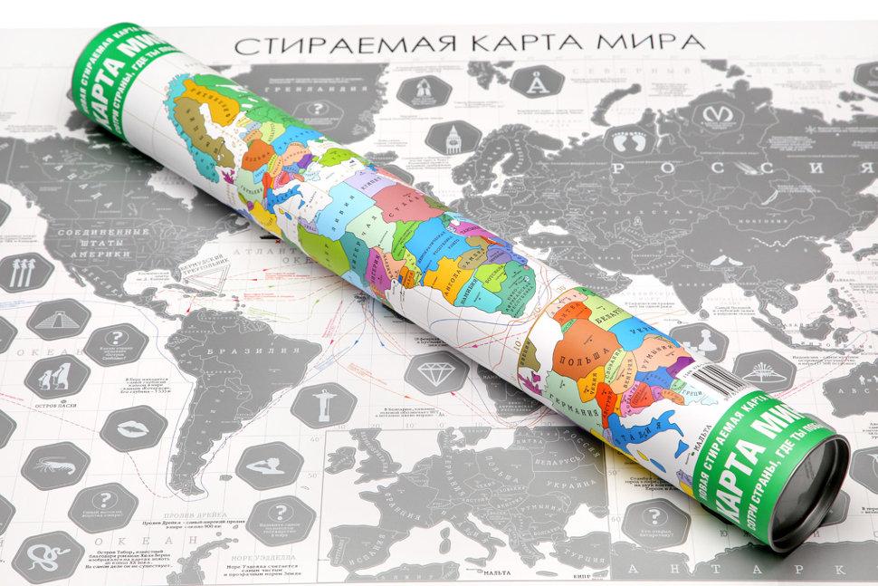Стираемая карта мира «Премиум» (серебряный слой) - 4